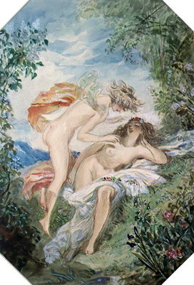 Flora and Zephyr by Alfred-Edward Chalon - print