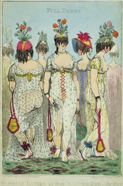 Fine Art Print of Parisian Ladies in Winter Dresses for 1800, 1799 by James Gillray