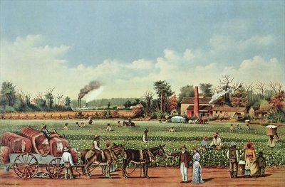 Fine Art Print of A Cotton Plantation on the Mississippi - the Harvest, engraved by Currier and Ives, 1884 by William Aiken Walker