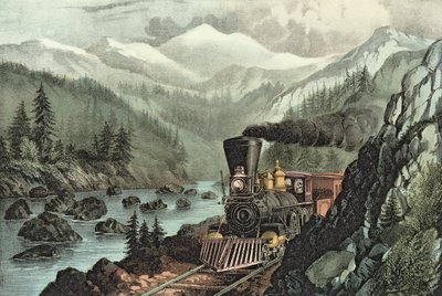 The Route to California. Truckee River, Sierra Nevada. Central Pacific railway, 1871 Poster Art Print by N. Currier