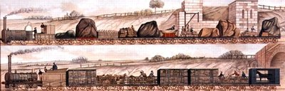 Liverpool and Manchester Railway: Freight and livestock (colour litho) by English School - print
