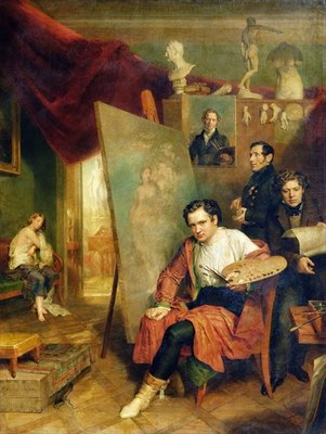 In the studio of the painter, 1832 (oil on canvas) by Wilhelm August Golicke - print