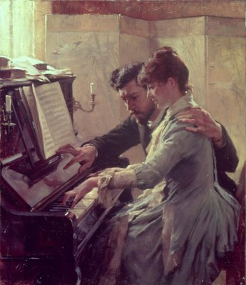 Fine Art Print of At the Piano by Albert Gustaf Aristides Edelfelt