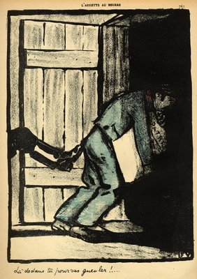 Fine Art Print of A man caught putting up political posters is thrown in prison, from 'Crimes and Punishments', special edition of 'L'Assiette au Beurre', 1st March 1902 by Felix Edouard Vallotton