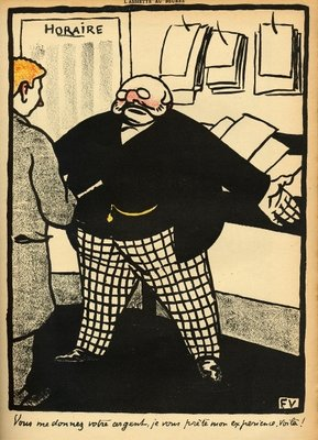 A business man and his client, from 'Crimes and Punishments', special edition of 'L'Assiette au Beurre', 1st March 1902 Poster Art Print by Felix Edouard Vallotton