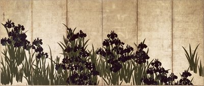 Irises (folding screen) by Ogata Korin - print