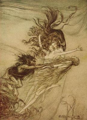 """The Rhinemaidens teasing Alberich"" from 'The Rhinegold and The Valkyrie' by Richard Wagner, 1910 Poster Art Print by Arthur Rackham"