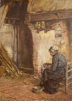 Old Woman Peeling Potatoes Poster Art Print by Walter Langley