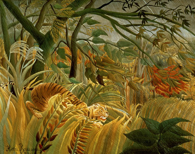 Tiger in a Tropical Storm (Surprised!) 1891 (oil on canvas) by Henri J.F. Rousseau - print