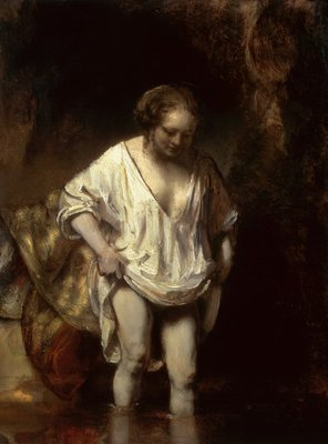 Woman Bathing in a Stream, 1654 (oil on panel) by Rembrandt Harmensz. van Rijn - print