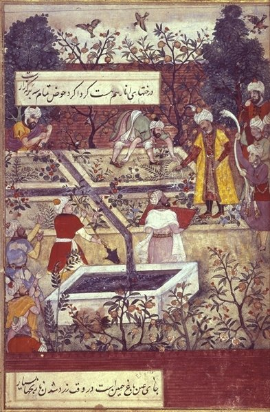 Emperor Babur and his architect plan the Bagh-i-Wafa near Jalalabad, from the 'Baburnama' (the 'Memoirs of Babur'), Mughal, 1589-90, (illustrated text) by Pahari School - print