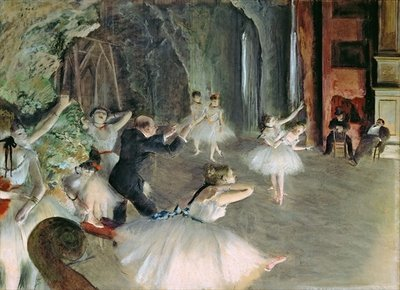Fine Art Print of The Rehearsal of the Ballet on Stage, c.1878-79 by Edgar Degas