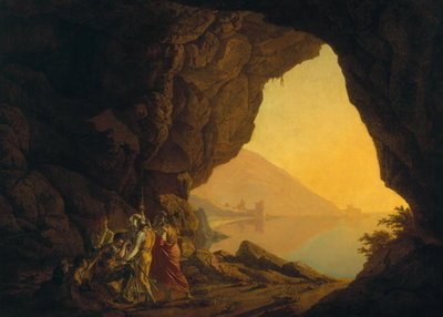 A Grotto in the Kingdom of Naples, with Banditti, exh. 1778 Poster Art Print by Joseph Wright of Derby