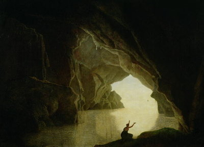 Fine Art Print of A Grotto in the Gulf of Salernum, with the figure of Julia, banished from Rome, exh. 1780 by Joseph Wright of Derby