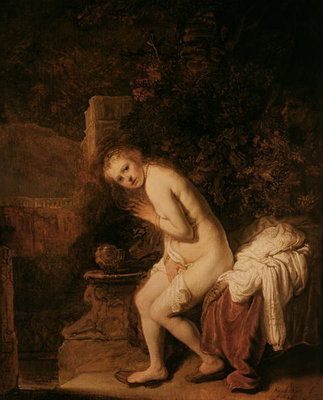 Susanna and the Elders, c.1634 (oil on panel) by Rembrandt Harmensz. van Rijn - print