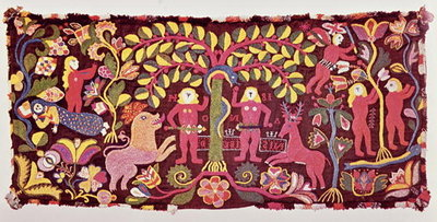 Fine Art Print of Carriage cushion cover depicting the Fall of Man, Creation of Eve and the Expulsion of Paradise, from Akarp, Skane, Sweden, c.1814 by Swedish School