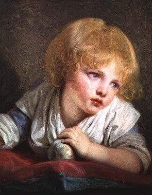 Child with an Apple, late 18th century (oil on canvas) by Jean Baptiste Greuze - print