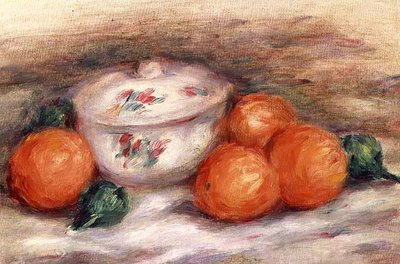 Still life with a covered dish and Oranges Poster Art Print by Pierre-Auguste Renoir