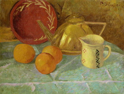 Fine Art Print of Still Life with Fruit and a Pitcher or Synchronization in Yellow, 1913 by Paul Serusier