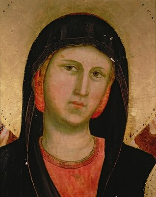 Madonna, from Madonna and Child Enthroned Poster Art Print by Giotto di Bondone