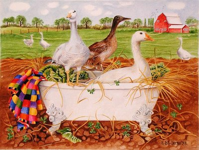 Fine Art Print of Geese in Bathtub, 1998 by E.B. Watts