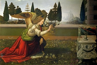 Fine Art Print of Angel Gabriel, from the Annunciation, 1472-75 by Leonardo da Vinci