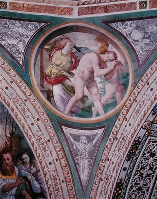 Fine Art Print of The Expulsion of Adam and Eve, from the pendentive of the dome, 1532-36 by Bernardino Luini
