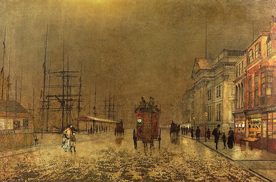 Fine Art Print of A Liverpool Street by John Atkinson Grimshaw
