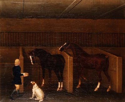 A groom, horses and a dog in a stable, 1747 Poster Art Print by James Seymour