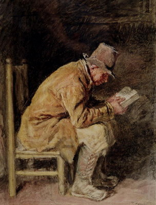 Study of a Countryman Reading Poster Art Print by William Henry Hunt