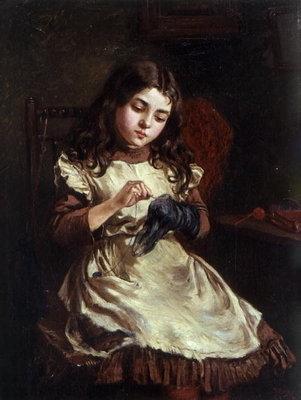 Darning the Sock, 1882 Poster Art Print by Ralph Hedley