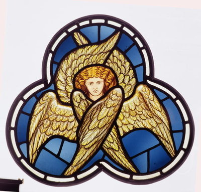 Fine Art Print of Window depicting a many-winged angel, made by the William Morris factory, 1870 by D. G. Rossetti