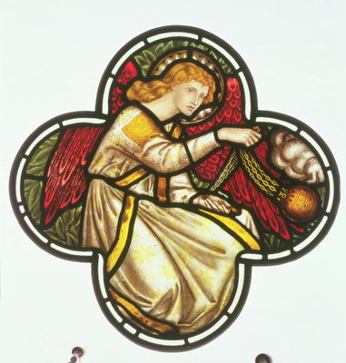 Fine Art Print of Window of an Angel swinging a censer, made by the William Morris factory, 1870 by D. G. Rossetti