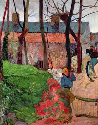 Fine Art Print of Cottage at Le Pouldu, 1890 by Paul Gauguin
