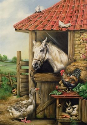 Fine Art Print of Farmyard Friends by Carl Donner