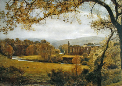 Fine Art Print of Bolton Abbey, Wharfedale by John William North