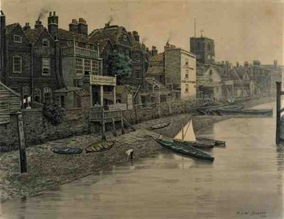 A Thames View Showing the Adam and Eve Tavern in Chelsea, 1868 Poster Art Print by Walter Greaves