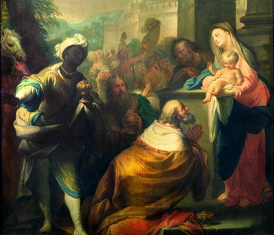 Fine Art Print of The Adoration of the Magi, detail of the three kings, c.1750 by Andrea Casali