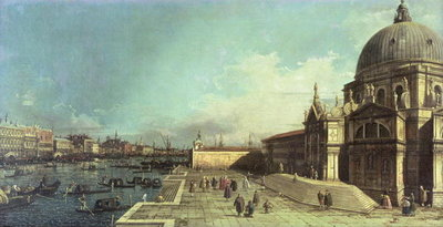 The entrance to the Grand Canal, Venice with the Church of Santa Maria della Salute Poster Art Print by Canaletto
