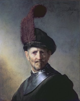 An Old Man in Military Costume Poster Art Print by Rembrandt Harmensz. van Rijn