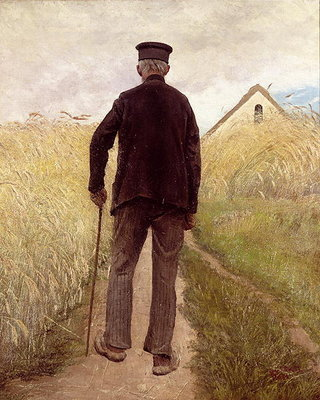 Old man walking in a rye field Poster Art Print by Laurits Andersen Ring