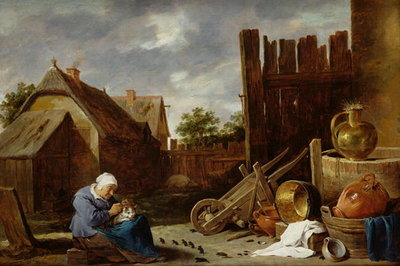 A cat tended by an old woman Poster Art Print by David the Younger Teniers