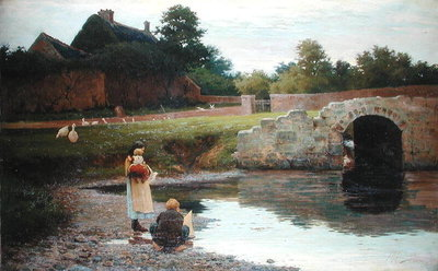 Playing by the Old Bridge, Poster Art Print by Joseph Malachy Kavanagh