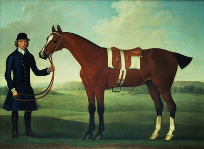 A Bay Hunter Held by a Groom Poster Art Print by James Seymour