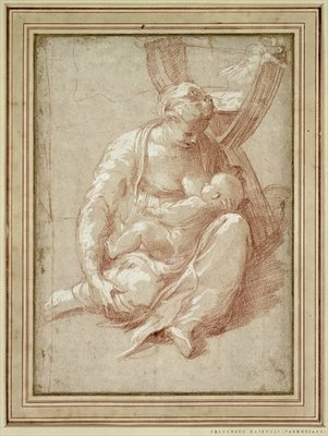Virgin Seated on the Ground, Nursing the Child Poster Art Print by Parmigianino