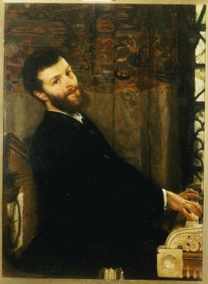 Fine Art Print of Portrait of the singer George Henschel playing Alma-Tadema's piano, Townshend House, 1879 by Sir Lawrence Alma-Tadema