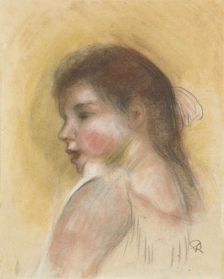 Head of a Young Girl in Profile, 1890s Poster Art Print by Pierre-Auguste Renoir