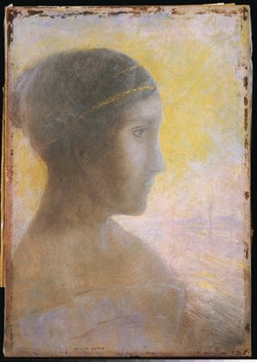 Head of a Young Woman in Profile, c.1895 Poster Art Print by Odilon Redon