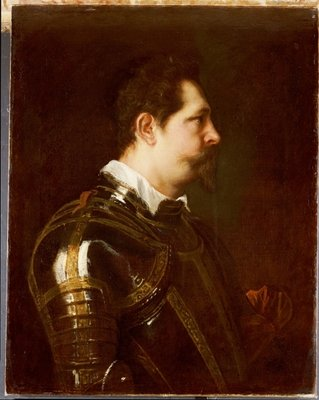 Portrait of a general, bust length, in damascened armour with white collar and red sash Poster Art Print by Sir Anthony van Dyck