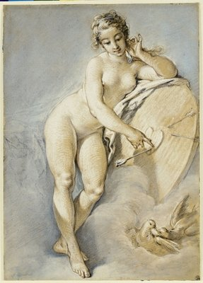 Venus standing, gesturing towards a heart on a target with two doves, 1754 Poster Art Print by Francois Boucher